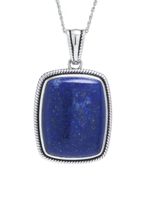 Sterling Silver Lapis Rope-Edge Rectangle Pendant Necklace