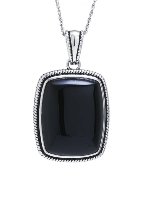 Infinity Silver Sterling Silver Black Chalcedony Rope-Edge