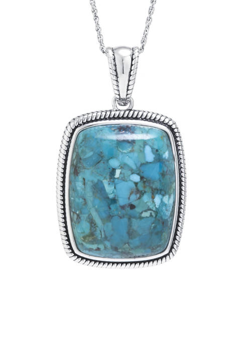 Sterling Silver Enhanced Turquoise Rope-Edge Rectangle Pendant