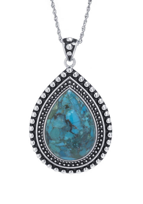 Sterling Silver Genuine Turquoise Teardrop with Beaded Edge Pendant Necklace