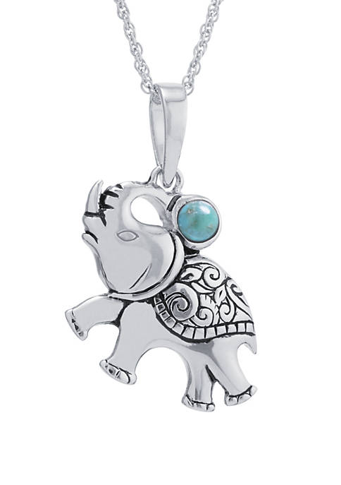 Belk Silverworks Sterling Silver Enhanced Turquoise Elephant