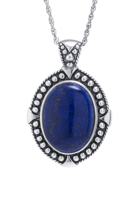 Infinity Silver Sterling Silver Dyed Lapis Oval Beaded