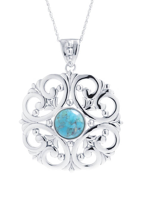Infinity Silver Sterling Silver Enhanced Turquoise Circle and