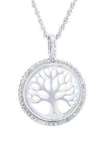 Sterling Silver Mother Of Pearl and Cubic Zirconia Tree of Life Pendant Necklace