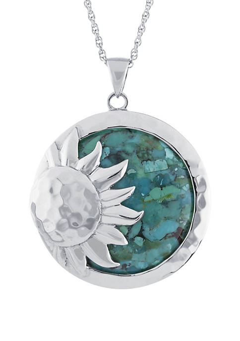 Sterling Silver Enhanced Turquoise Hammered Sun Pendant Necklace