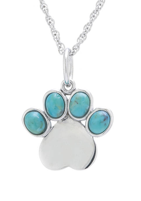 Infinity Silver Sterling Silver Enhanced Turquoise Paw Print