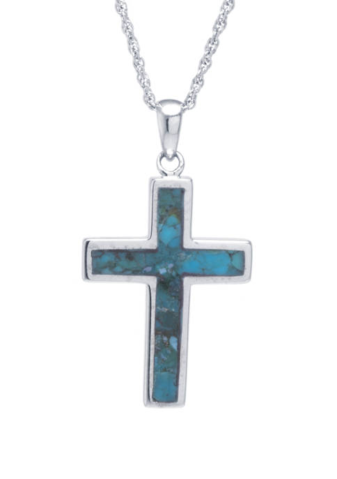 Sterling Silver Genuine Turquoise Cross Pendant Necklace