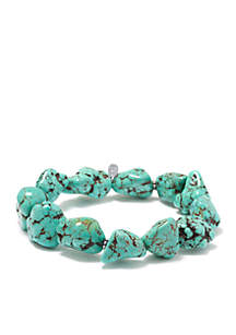 Manufactured Turquoise Nugget Stretch Bracelet