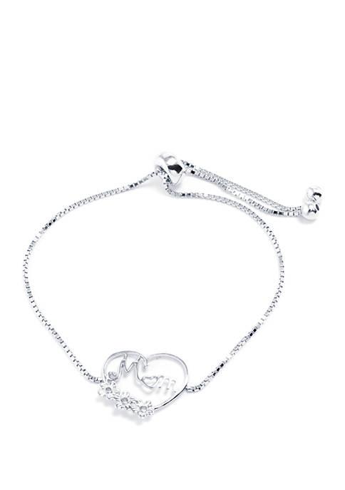 Sterling Silver Mom and Heart Adjustable Bracelet
