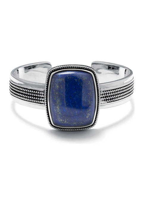 Infinity Silver Sterling Silver Lapis Rope-Edge Rectangle Cuff