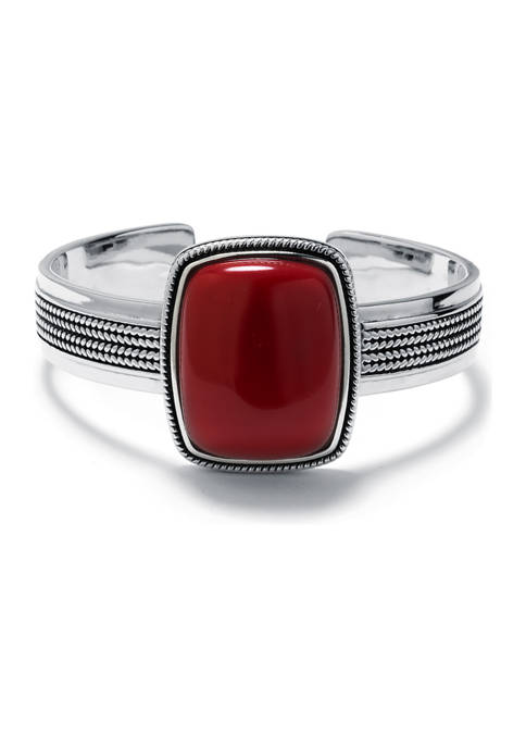 Infinity Silver Sterling Silver Simulated Red Jasper Rope-Edge