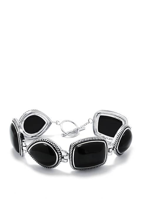 Sterling Silver Black Onyx Teardrop and Rectangle Cabochon Bracelet