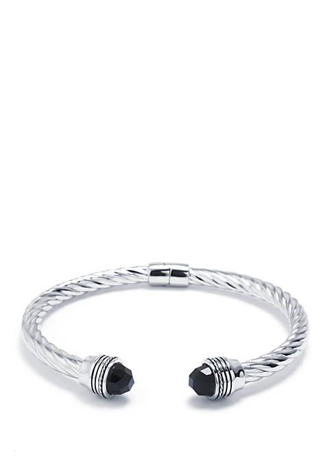 Infinity Silver Sterling Silver Black Onyx Open Twist