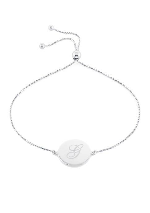 Sterling Silver Disc Initial Bracelet