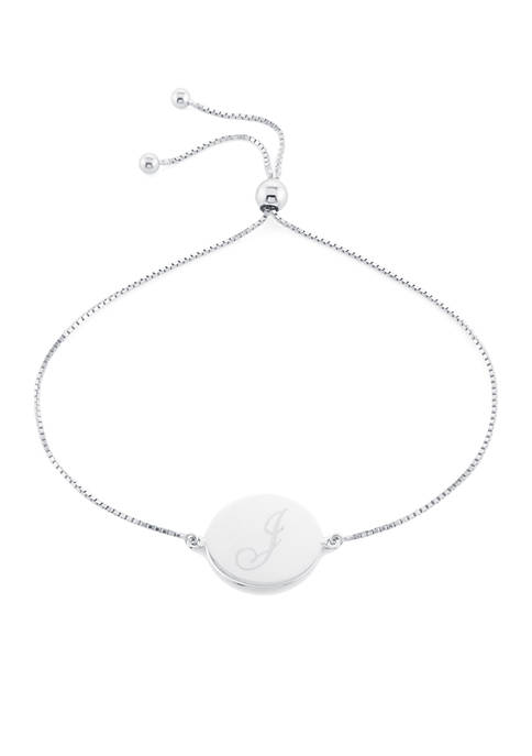 Belk Silverworks Sterling Silver Disc Initial Bracelet