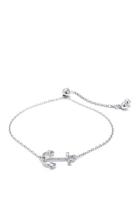 Sterling Silver Anchor Adjustable Bolo Bracelet