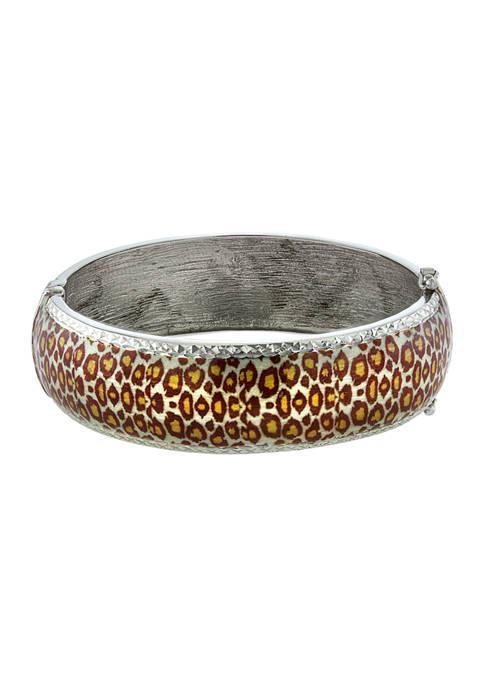 Sterling Silver 8 Inch Leopard Print Enamel Bangle Bracelet