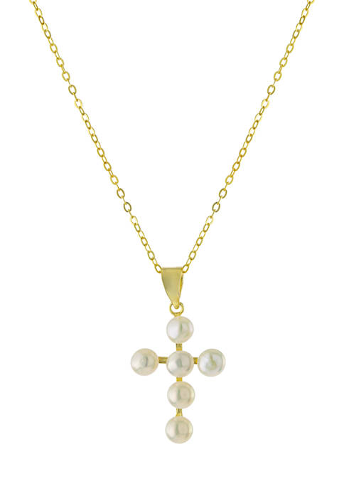 Gold Over Sterling Silver Freshwater Pearl Cross Necklace