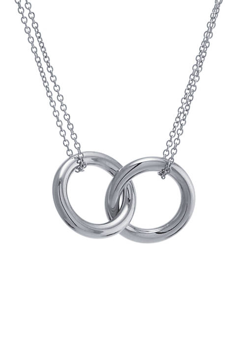 Sterling Silver 17 in Double Circle with Double Chain Necklace