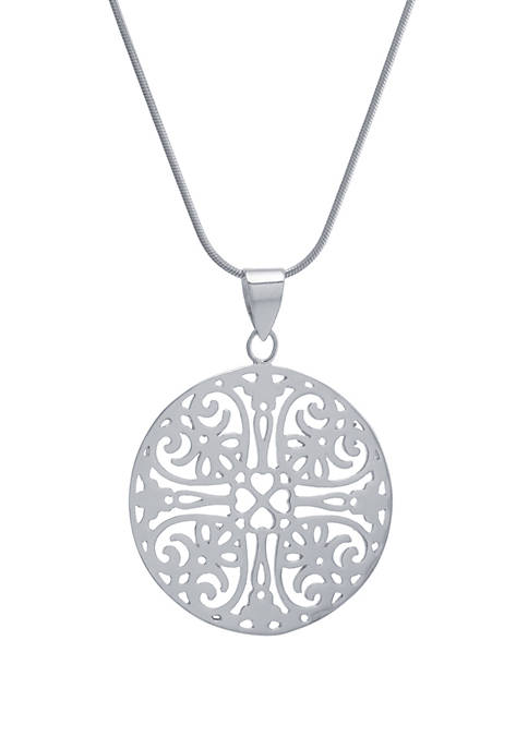 Sterling Silver 18 in Openwork Disk Pendant Necklace