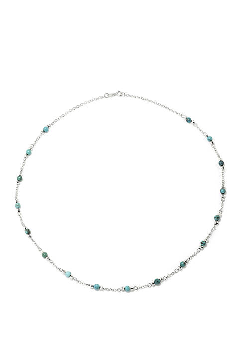 Infinity Silver Sterling Silver 18 Inch Enhanced Turquoise