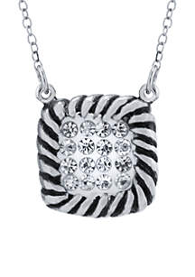 Sterling Silver Crystal Pave Rope Edged Necklace