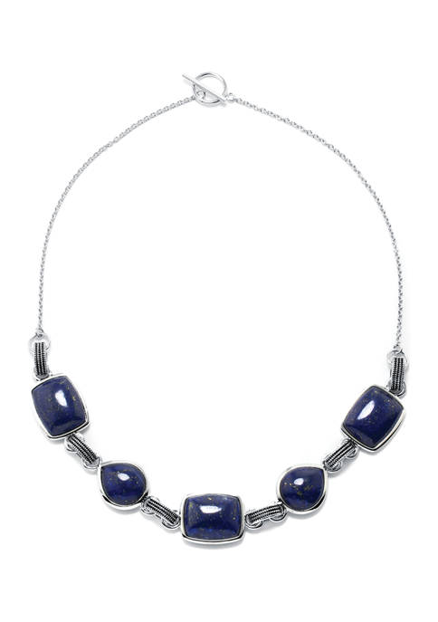 Sterling Silver Lapis Teardrop and Rectangle Cabochon Necklace