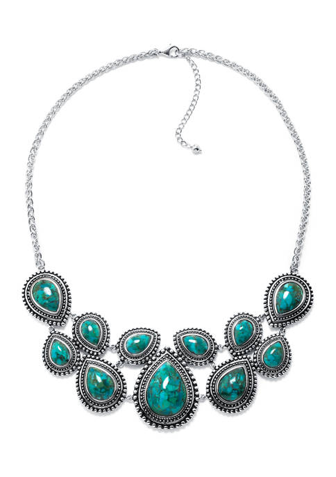Infinity Silver Sterling Silver Enhanced Turquoise Bib