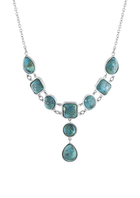 Sterling Silver Enhanced Turquoise Bib Cabachon Necklace