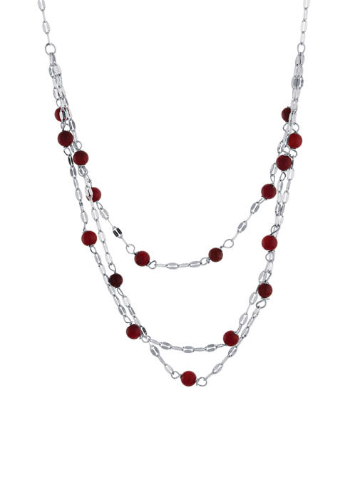 Infinity Silver Sterling Silver 3 Row Simulated Coral
