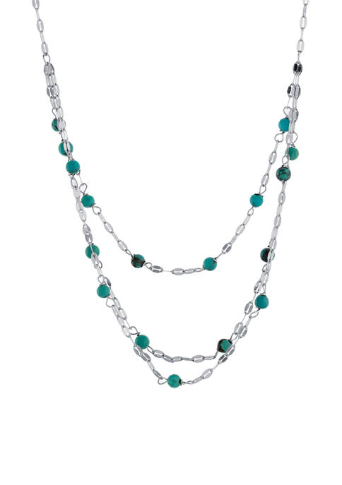 Infinity Silver Sterling Silver 3 Row Enhanced Turquoise