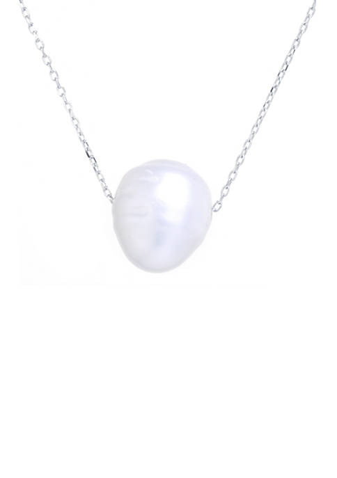 10 Millimeter Sterling Silver Pearl Pendant Necklace