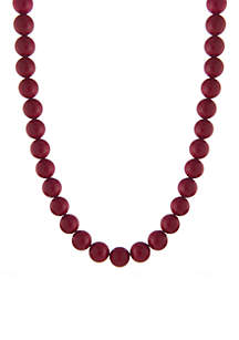 Sterling Silver 12MM Simulated Beaded Necklace
