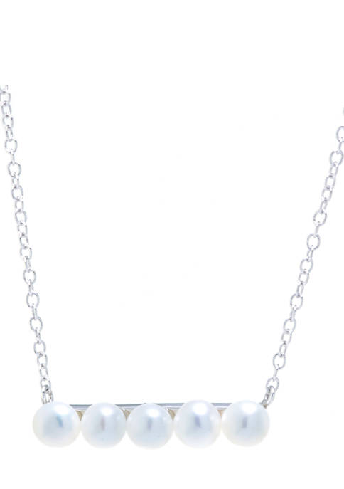 Sterling Silver Freshwater Pearl Station Bar Necklace