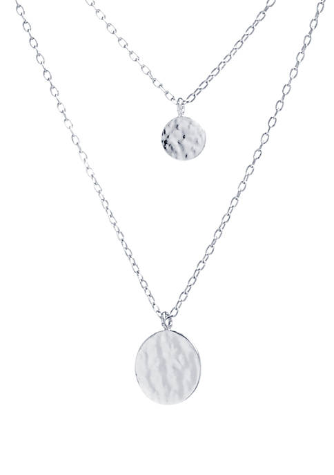 Sterling Silver Tiered Hammered Disc Necklace