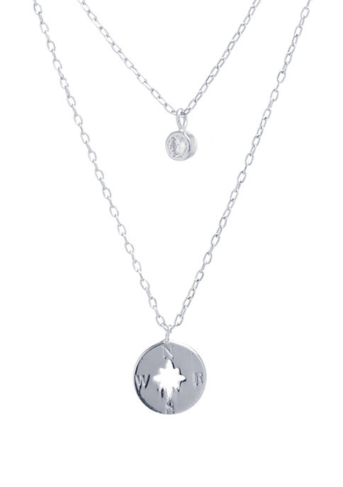 Sterling Silver Round Cubic Zirconia and Compass Necklace