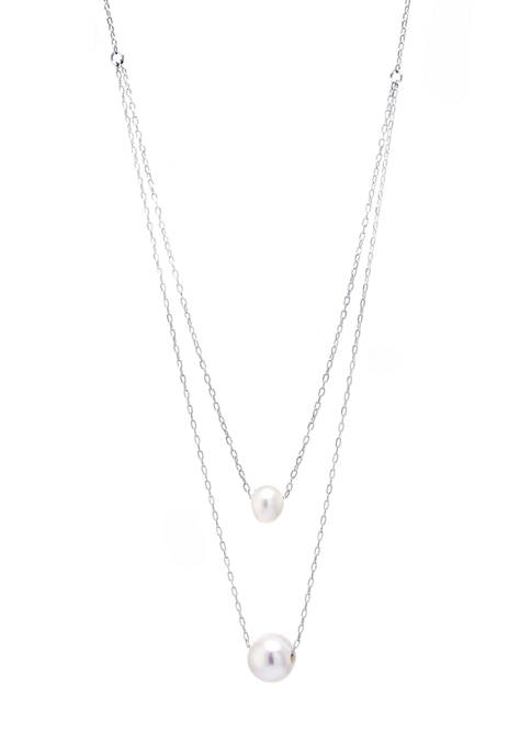 Sterling Silver Freshwater Pearl Double Station Necklace
