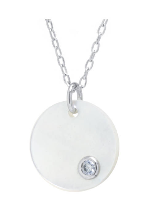 Sterling Silver Mother of Pearl Disc Pendant Necklace