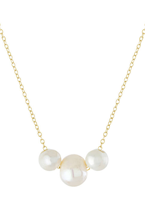 Yellow Gold Over Sterling Silver Freshwater Pearl Pendant Necklace