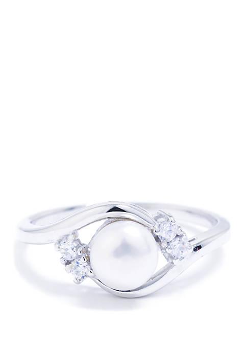 Belk Silverworks Sterling Silver Faux Pearl Cubic Zirconia
