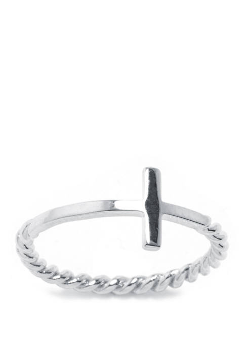 Sterling Silver Cross Twisted Band