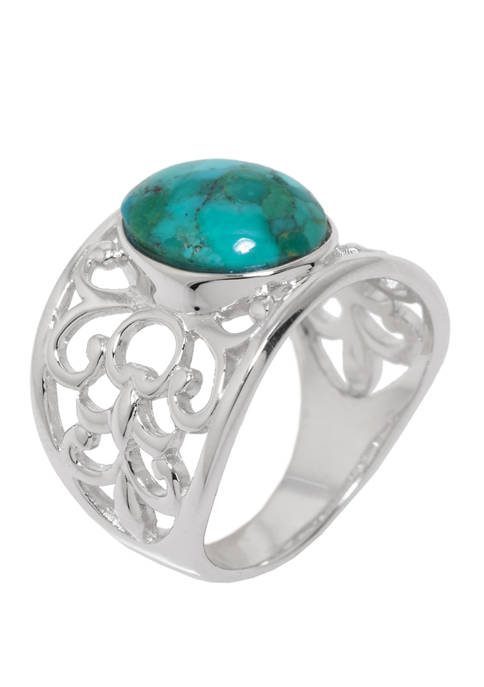 Sterling Silver Genuine Turquoise Open Work Ring