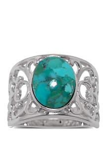 Sterling Silver Enhanced Turquoise Oval Open Work Ring