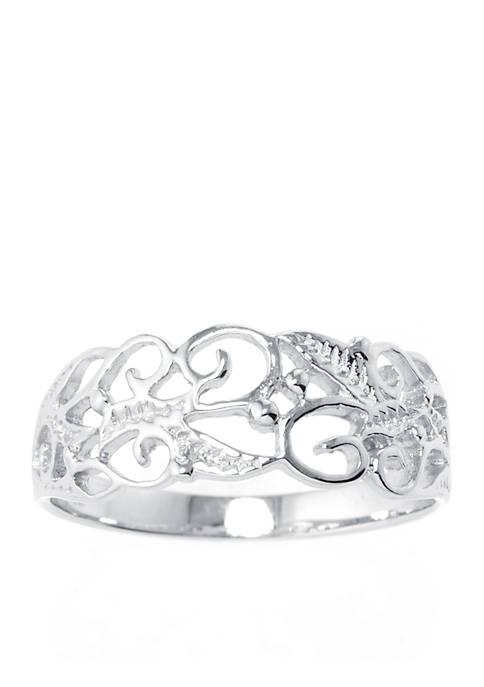 Belk Silverworks Sterling Silver Filigree Leaf Ring