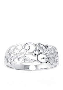 Sterling Silver Filigree Leaf Ring
