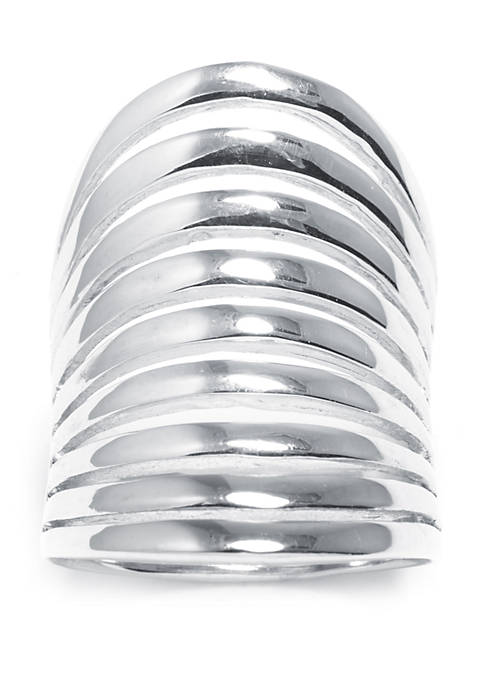 Sterling Silver High Polished 9 Row Concave Ring
