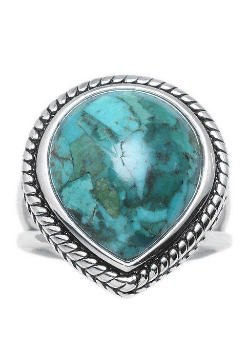 Sterling Silver Simulated Turquoise Teardrop Rope Ring