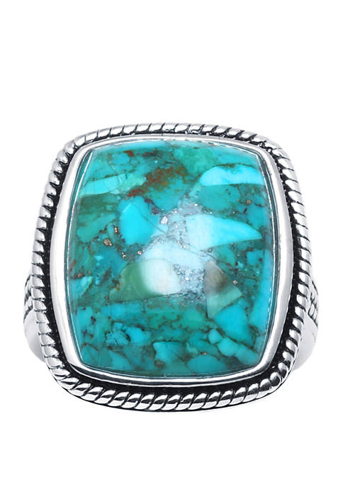 Sterling Silver Simulated Turquoise Rectangle Cabochon Ring