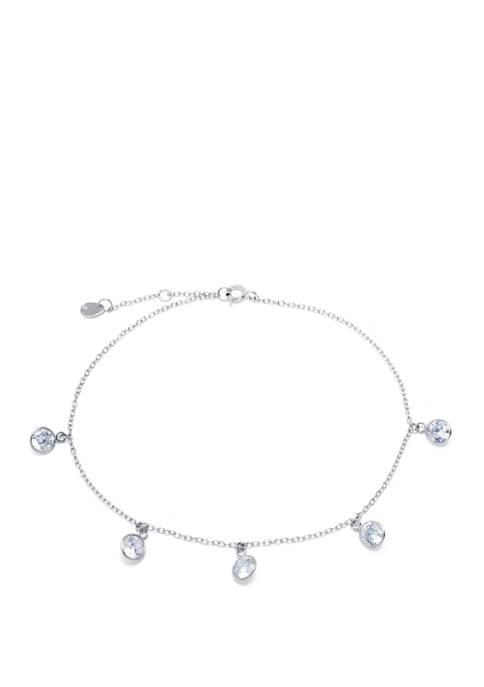 Belk Silverworks Sterling Silver Cubic Zirconia Circles Anklet