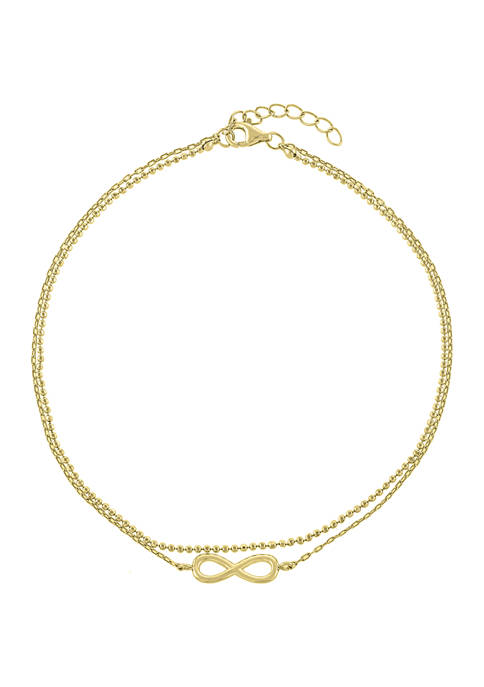 Belk Silverworks Gold Plated Double Row Infinity Anklet